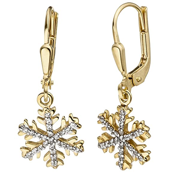 Jobo Earrings Snowflake 333 Yellow Gold with Cubic Zirconia Drop Earrings