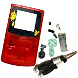 Galyme Brand Crystal Clear Red Color Replacement Full Shell Housing Fit For Game GBC Boy Color Nintedo Consle Case Cover With Limited Lens With Cross Y Screwdriver