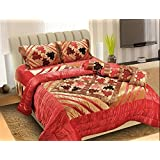 SARTAJ Wedding Bedding Set 8 Pcs (1 Quilt, 1 Double Bed Sheet, 2 Pillow Covers, 2 Filled Cushions, 2 Filled Bolster)