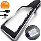 [Rechargeable] 4X Magnifying Glass with [10 Anti-Glare & Dimmable LEDs]-Evenly Lit Viewing Area-The Brightest & Best Reading Magnifier for Small Prints, Low Vision Seniors, Macular Degeneration (Color: Black)
