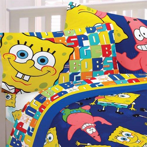 Spongebob Patrick Twin Sheet Set Dark Blue Bedding front-855678