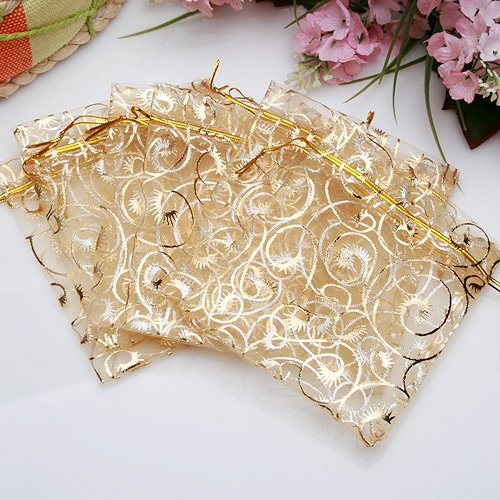 Leegoal 100pcs Champagne Eyelash Organza Drawstring Pouches Jewelry Party Wedding Favor Gift Bags