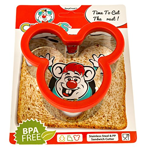 Crusty's Mickey Mouse Sandwich Cutter - High Quality Stainless Steel Crust & Cookie Cutter (Sandwich Cutter And Decruster compare prices)