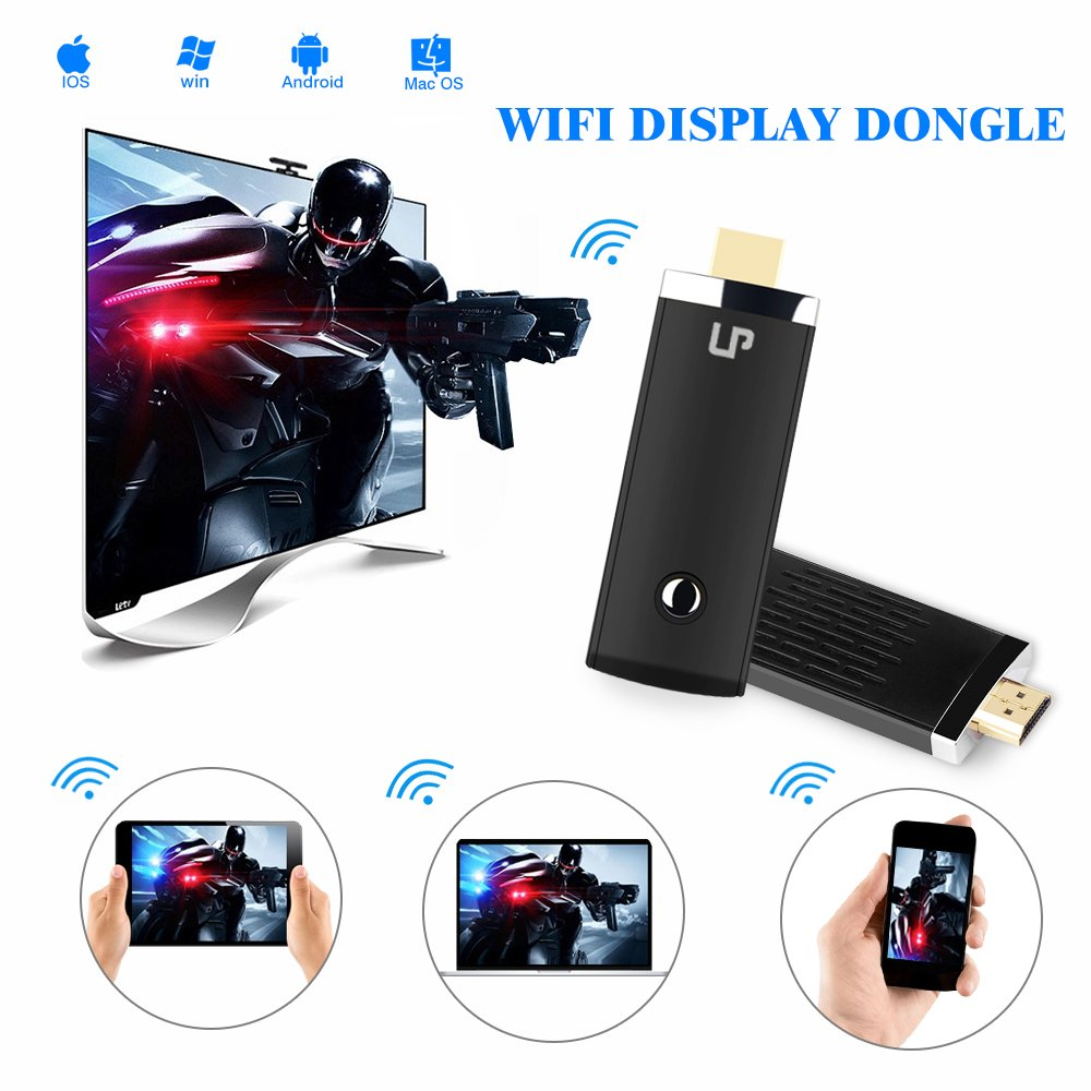 LP 5G High Speed HDMI Miracast Dongle, Wireless WIFI Display Dongle, Sharing Photo/ Music/ Video/ Game/Internet & Entire Screen from Mobile Phones on HDMI Big TV Screen without Buffer Delay, For iPhone  ...