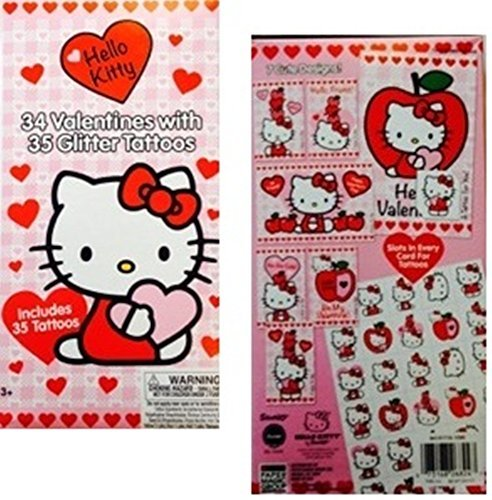 34 Hello Kitty Valentines with 35 Glitter Tattoos