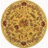 Safavieh Chelsea Collection HK141A Hand-Hooked Wool Round Area Rug, 5-Feet 6-Inch Round, Ivory