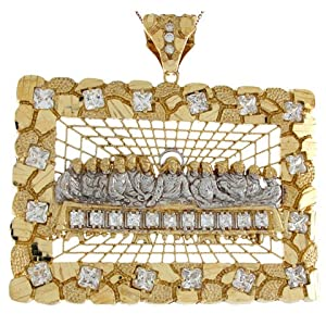 14k Real Two Toned Gold White CZ Last Supper 8.23cm X 8.60cm Religious Pendant