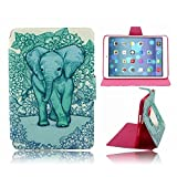 Green Tribal Elephant Slim 360 Case Cover Skin Sleeve for Apple iPad Air 1 -5 The 1st Apple Air. Super Slim 360 Rotating Stand Case with Pink Lining and Internal Card Slots. Wallet Style Cover with Gorgeous Elephant Pattern. Smart TPU and PU Leather Viny