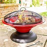 La Hacienda Red Moda Enamelled Firepit Patio Heater Wood Burner
