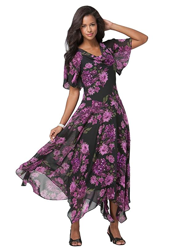 Roamans Women's Plus Size Floral Beaded Fit And Flare Gown