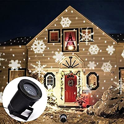 Projector Light Moving White Snowflakes Spotlight Lamp, Sparkling Landscape  Projection LED Lights Waterproof Indoor Outdoor For Christmas Holiday  Garden ...