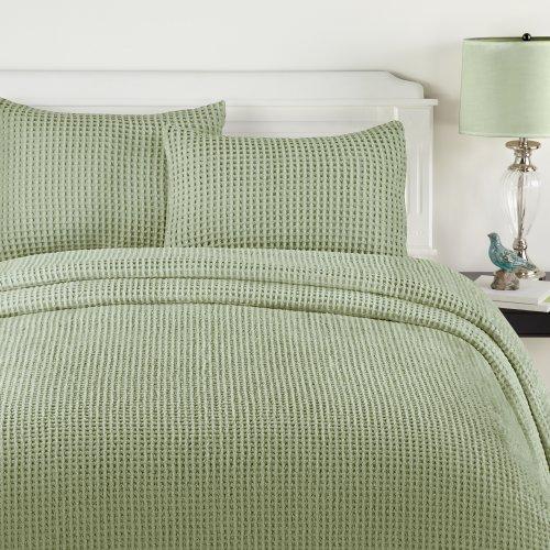 Lamont Home Honeycomb Bedspread, Queen, Sage front-579209