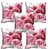 meSleep Pink Rose Cushion Cover (16X16) Set of 5