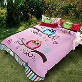 Sisbay Cute Owl Love Bedding,Pink Baby Girls Wedding Duvet Cover,Child Cartoon Bed Set,Twin Queen King Size