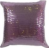 """Decorative Transparent Sequins Floral Throw Pillow COVER 18"""" Purple"""