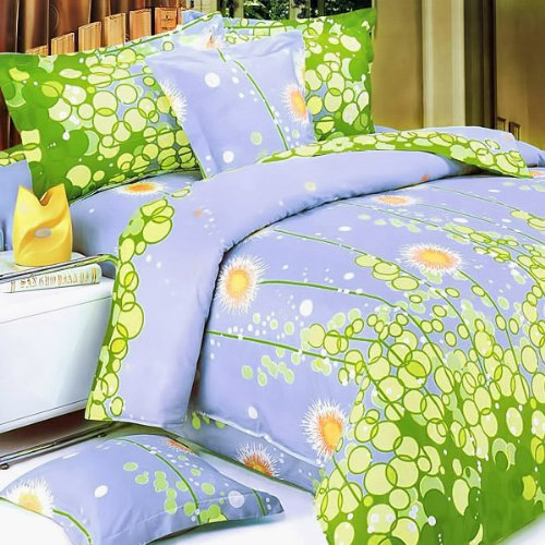 Blancho Bedding - [Dandelion Dream] 100% Cotton 3PC Mini Comforter Cover/Duvet Cover Set (Queen Size)