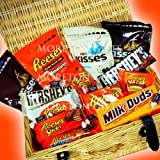 American Ultimate Hamper - Reese's Peanut Butter Cups, Sticks, Pieces, Nutrageous, Hershey's Cookie & Crème Bar & Kisses, Milk Duds, Tootsie Midgees Chocolates - By Moreton Gifts - Premium Gift