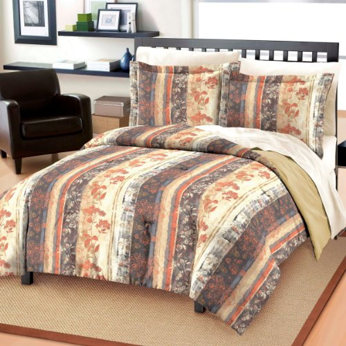 Dream Factory Rustic Floral All Cotton Comforter And Sham Set, Twin, Brown
