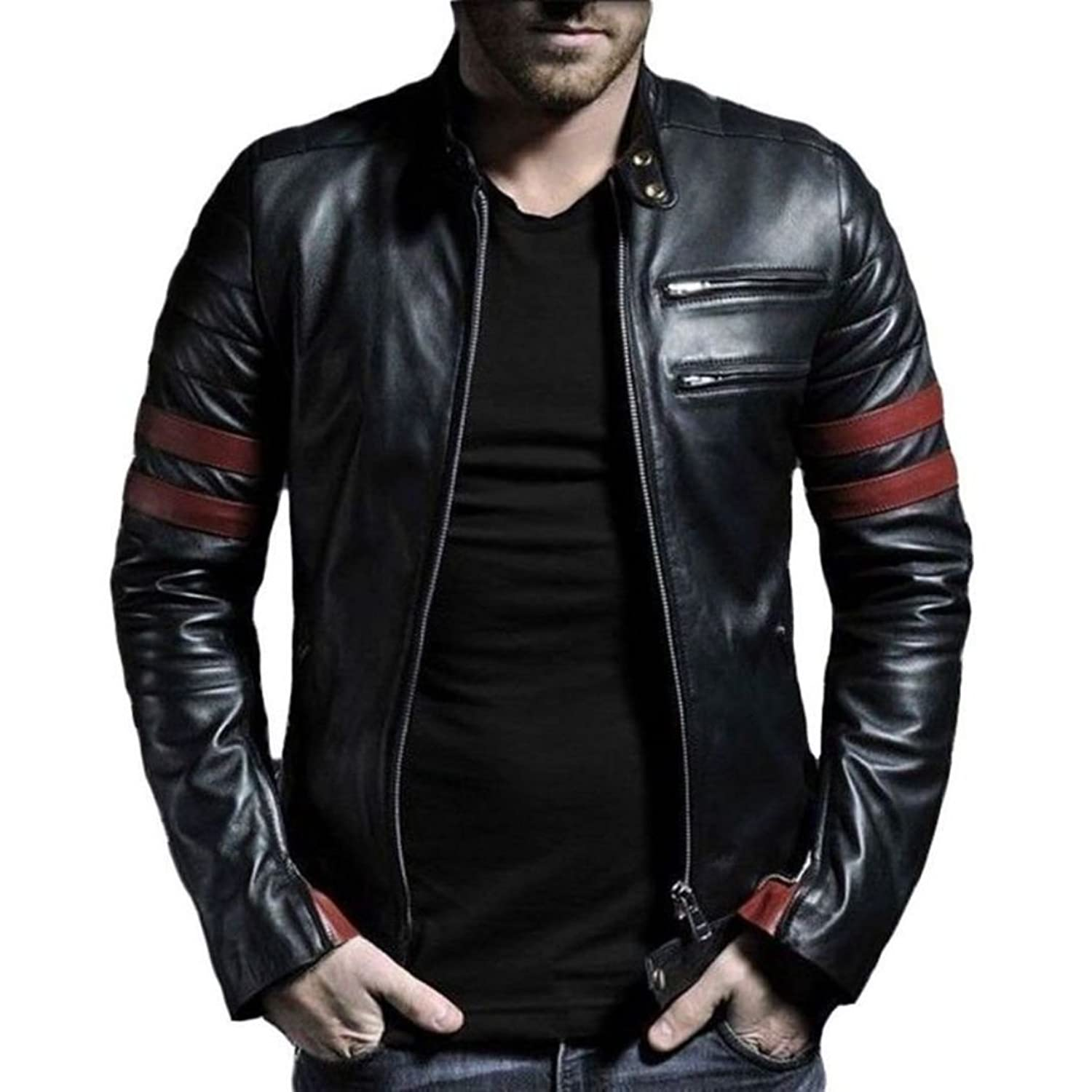 Leather jacket india - V4m Men S Red Stripe Genuine Real Leather Jacket Amazon In Clothing Accessories