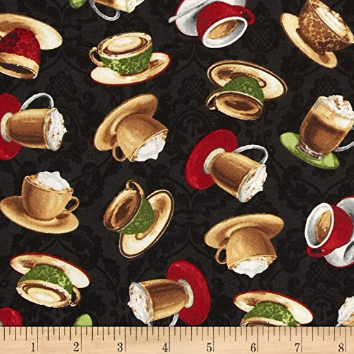 Coffee Moment Tossed Coffee Cups Black Fabric