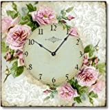 Item C6120 Vintage Style Romantic Shabby Roses Clock