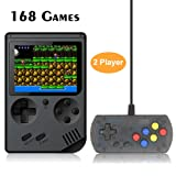 FAITHPRO Retro FC Handheld Game Console with Built in 168 Games,2 Player 3 Inch Screen USB Charger Supports TV Output Video Game Console, Good Gifts for Kids and Adults (Color: Black)