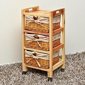 Mueble de pino con cestas de mimbre con detalle de flores - Mueble mimbre bano ...