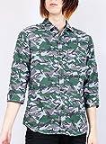 カモフラ 総柄 プリント ストライプ カジュアル 7分袖シャツ メンズ 男性