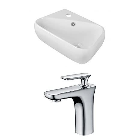 "Jade Bath JB-15291 18"" W x 10.5"" D Rectangle Vessel Set with Single Hole CUPC Faucet, White"