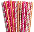 Orange and Pink Chevron, Polka Dot and Stripe Paper Straws -Birthday Party Supply Teen or Floral Party Baby Shower 100%Biodegradable 7.75 Inches Pack of 100