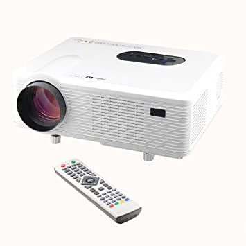 Excelvan 3D HD Projecteur LED à 3000 Lumens Home Cinéma Grande Résolution 1280x800 HDMI VGA/ USB/ AV /Digital TV/1080P - Blanc