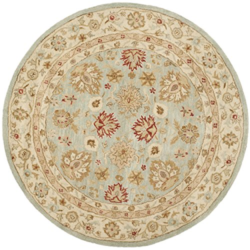 Safavieh Antiquity Collection AT822A Handmade Grey-Blue and Beige Wool Round Area Rug, 8 feet in Diameter (8' Diameter)