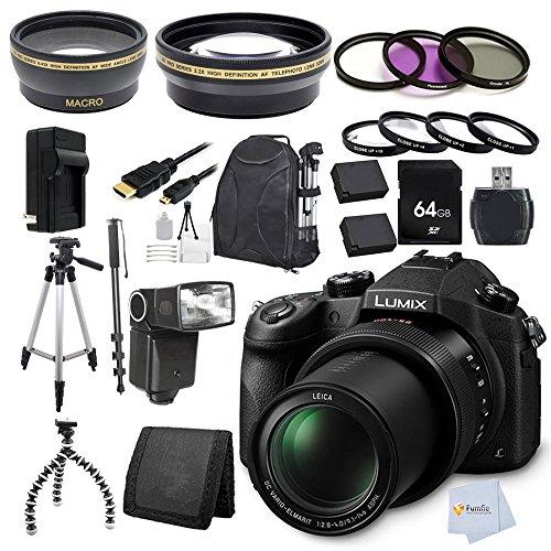 Panasonic Lumix Dmc-Fz1000 4K Qfhd/Hd 16X Long Zoom Digital Camera (Black) Bunlde + 64Gb Accesory Kit. Package Includes: Memory Card + High Definition Wide Angle & Telephoto Lenses + Uv-Pl-Fld Filters + Macro Filters Set + Tripod + Monopod + Backpack & Mo