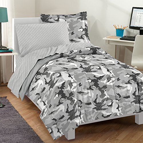 Dream Factory Casual Geo Camo Camouflage Comforter Set, Full, Grey (Camouflage Comforter Set Full compare prices)