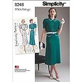 Simplicity 8248 1930's Vintage Dress Sewing Pattern, Sizes 12-20 (Tamaño: Sizes 12-20)
