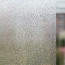 3Ft X 6.5Ft.(90 x 200cm) Leyden Cut Glass Mini Mosaic No-Glue 3D Static Decorative Glass Window Films