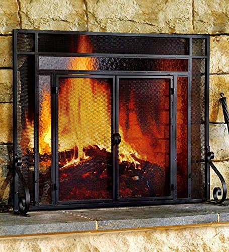 Plow & Hearth Two-Door Fire Screen With Glass Accents - Tubular Steel Frame with Tempered Glass - Matte Black Finish - 44''W x 33''H (Fireplace Frame compare prices)