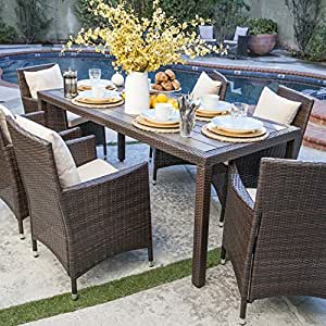 Nathaniel 7 piece outdoor patio dining set with cushions weather resistant resin Angelo home patio furniture