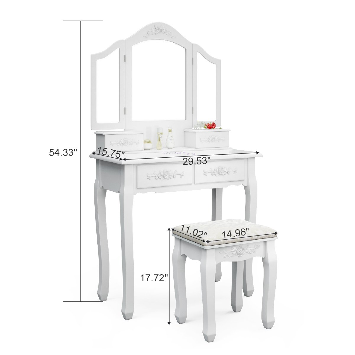 Tribesigns Wood Makeup Vanity Table Set with 3 Mirror and Stool Bedroom Dressing Table Dresser Desk, White 5