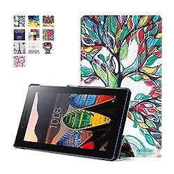 Lenovo Tab 3 7.0 Case, Lenovo Tab 3 Essential Case, Pasonomi Ultra Slim Lightweight PU Leather Folio Case Stand Cover for Lenovo Tab 3 Essential 7.0 710F 7-Inch Tablet 2016 Release, Tree