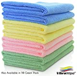 VIBRAWIPE MICROFIBER CLOTH - Pack of 8 Pieces (4 Colors) Microfiber Cleaning Cloths, HIGH ABSORBENT, LINT-FREE, STREAK-FREE, Kitchen Cloth, Kitchen Towel, Drying Cloth, Microfiber Towel, For Kitchen, For Car, For Windows, Cleans Without Chemicals, All-Purpose Household Cleaning Cloths, Satisfaction Guaranteed.