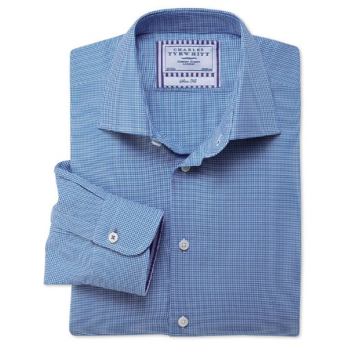 Charles Tyrwhitt Blue puppytooth business casual slim fit shirt (14.5 - 33)