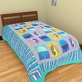 Grj India Cotton Bedsheet Without Pillow Cover (GRJ-SB-926, Multi-Color, 215 cm x 150 cm)
