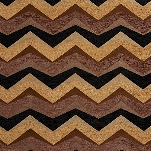 460PX Brown, Gold and Black Wavy Upholstery Fabric By The Yard