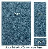 Indoor-outdoor Deep Sea , 3 Piece Set, Patio Rug's (8x10 Area Rug, 3x8 Runner, 2x3 Mat)
