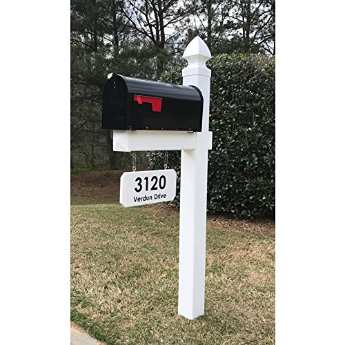 The Loudon Vinyl / PVC Mailbox Post - White (Includes Mailbox & Black Street Name and Number)