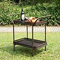 Wicker Lane ORI002-A Outdoor Espresso Wicker Patio Furniture Serving Cart from Wicker Lane