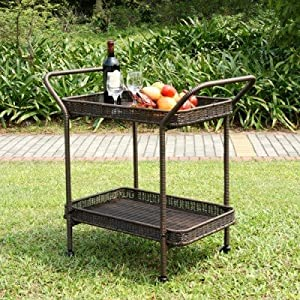 Wicker Lane ORI002-A Outdoor Espresso Wicker Patio Furniture Serving Cart from Wicker Lane