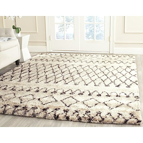 Safavieh Casablanca Collection CSB851A Handmade Ivory and Natural Wool Area Rug, 5 feet by 8 feet (5' x 8')