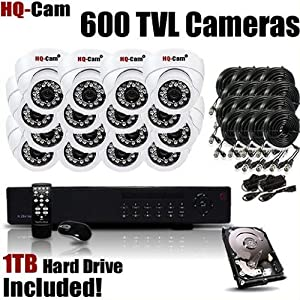 HQ-Cam® 16CH H.264 Real-time Network Security Surveillance DVR Recording System With 16x 600 TV Lines Night Vision Indoor Cameras Included 1 TB HDD,Power Supply and Cables